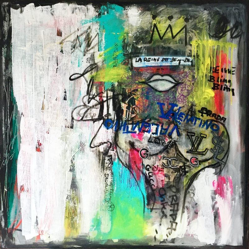 the queen of bling bling - acrylic painting on canvas - 100 cm x 100 cm
